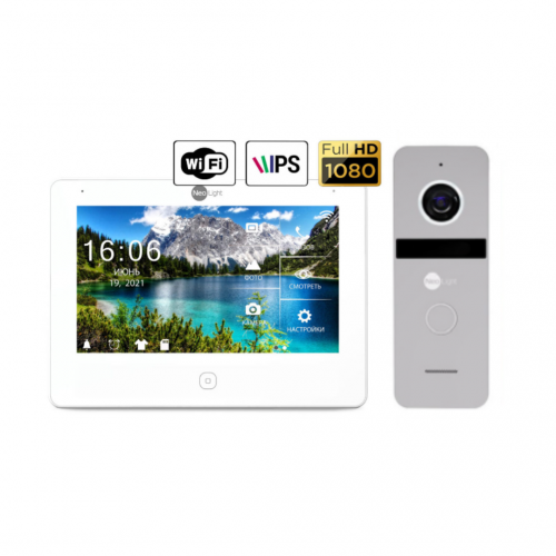 Комплект видеодомофонов Комплект видеодомофона NeoLight NeoKIT HD Pro WiFi Silver