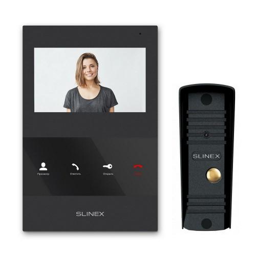 Комплект видеодомофонов Комплект видеодомофона Slinex SQ-04 Black + вызывная панель Slinex ML-16HR Black